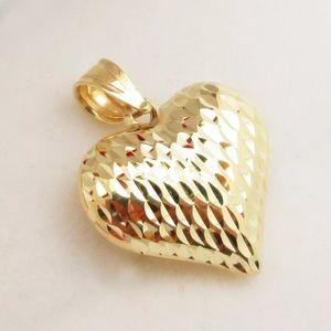 Jewelry - Real Gold Puffed Heart Charm Diamond Cut Pendant